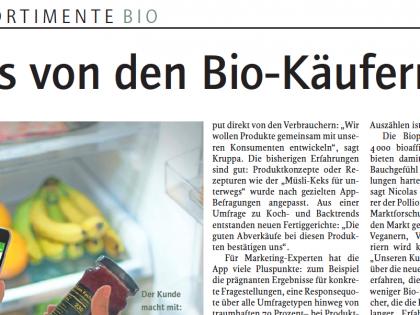 biopinio in der Lebensmittelzeitung